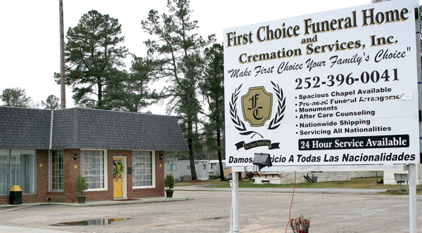 First Choice Funeral Home, located on Main Street in Murfreesboro, has been shut down by order of the North Carolina Board of Funeral Service due to multiple violations. Staff Photo by Amanda VanDerBroek