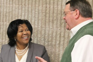 Dr. Peggy Bradford chats with Dan Joyner of the Ahoskie Chamber of Commerce after she made her pitch last week to become the next president of Roanoke-Chowan Community College. Staff Photos by Cal Bryant