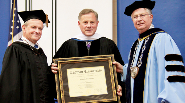 United States Senator Richard Burr (center) was awarded the honorary Doctor of Humane Letters for his exemplary service to the State of North Carolina from Chowan University's Chairman of the Trustees Frank Rose (left) and President Dr. Chris White. Contributed Photo