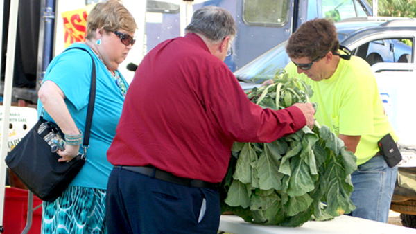 "Brenda and Curtis Allen of Ahoskie are shown purchasing fresh ""greens"" from Greg Hughes on opening day of the Winton Farmers Market. Staff Photo by Amanda VanDerBroek"