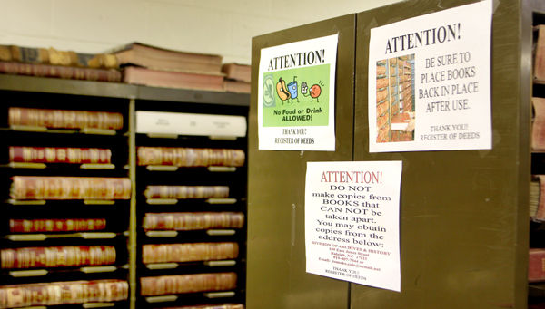 Those visiting the vault area of the Register of Deeds Office in Jackson are urged to abide by certain rules, to include refraining from eating or drinking. One local attorney questioned that rule. Staff Photo by Cal Bryant