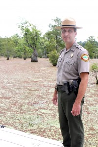 Jay Greenwood looks out over Merchants Millpond where he has served as Superintendent of the State Park since 2003. Greenwood has been promoted to Superintendent of the NC State Parks' South District. Staff Photo by Cal Bryant