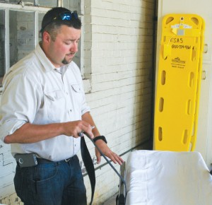 Matt Leicester, First Med Director of Operations for Bertie County, performs an inspection at the Aulander location. Staff Photo by Gene Motley
