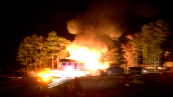 Riverside Restaurant at Tuscarora Beach near Winton is shown fully engulfed during Saturday night's fire. Contributed Photo by Jean Dail Jones