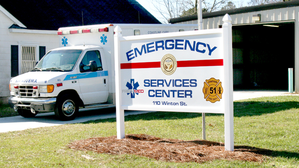 In the aftermath of First Med's downfall, Bertie County local government has put together a plan to operate an Emergency Medical Services (EMS) system. Shown here is a unit ready to roll on Friday morning from the station in Colerain…one of three locations serving the needs of county citizens. Staff Photo by Gene Motley