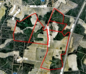 Shown here on a Northampton County tax map are the five properties (outlined in red) adjacent to Lebanon Church Road that are proposed to change zoning destination from Light to Heavy Industrial. The county commissioners have delayed making a decision on the proposal.