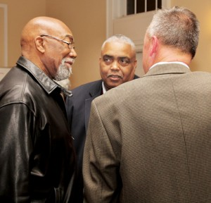 A local citizen (left) chats with Hertford County Sheriff Juan Vaughan (center) and Murfreesboro Police Chief Darrell Rowe. Staff Photo by Cal Bryant