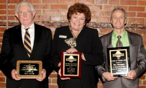 Those earning awards at the 2015 Murfreesboro Chamber of Commerce Banquet were, from left, Frank Stephenson, Dell Aycock and Tim Flanagan. Staff Photo by Cal Bryant
