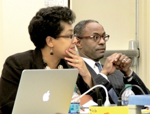 Northampton Schools Superintendent Dr. Monica Smith-Woofter is joined by School Board attorney Rod Malone as they listen to last week's discussion at a joint meeting of school officials and the county's Board of Commissioners. Staff Photo by Cal Bryant