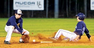 Bertie's Michael Scott (right) slides safely into second base ahead of the throw to Hertford County shortstop Bradley Edwards in Tuesday's game.  The Falcons came back to top the Bears 8-5 in this hotly contested rivalry game. Dynamic Photo / William Anthony
