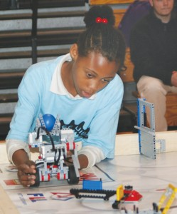 A student from West Bertie Elementary competes in the First LEGO League (FLL) Robotics competition at Roanoke-Chowan Community College. The competition pitted eight elementary and middle school STEM students in Hertford, Bertie, and Warren against each other. Staff Photo by Gene Motley