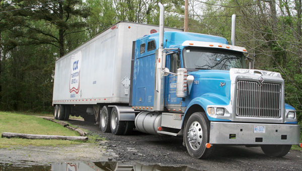 The Ahoskie Town Council still continues to wrestle with the question of the parking of semi-trucks (like this one at Gerock Street and Carolina Avenue) in residential districts within the town limits. Staff Photo by Gene Motley