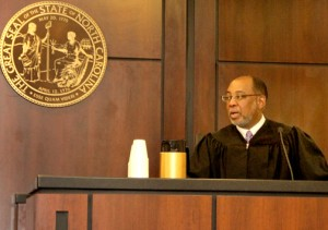 On Tuesday, court sessions were conducted for the first time in the new Hertford County Courthouse with the Honorable Judge Cy Grant (above) and the Honorable Judge Thomas Newbern below) respectively presiding over sessions of Superior and District Court. Staff Photos by Cal Bryant