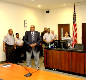 Hertford County Sheriff Juan Vaughan (foreground) officially calls to order a session of District Court on Tuesday morning. Staff Photo by Cal Bryant