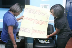 Nyasiah Parker (left) joins with Morgan Chadwick in one of the team-building exercises offered at Fiona's House in Ahoskie. Staff Photo by Cal Bryant