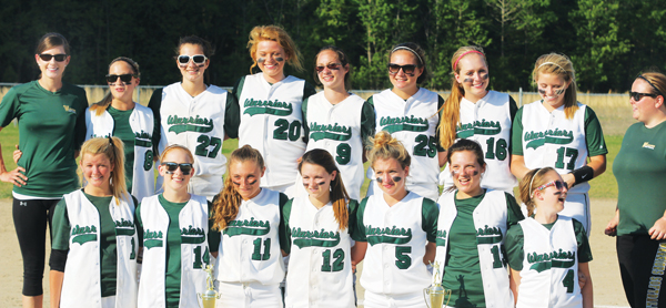 Coach Kristen Nobles-White (back left) poses with her team after Lawrence Academy won their second Tarheel Independent Conference softball title in two years. Staff Photo by Gene Motley