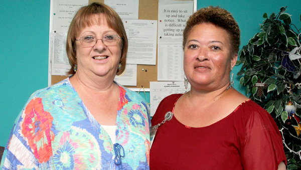 Diane McLawhorn (left) will retire June 1 as Nursing Director with the Hertford County Public Health Authority after a 33-year medical career. She is shown here with HCPHA administrative assistant Renee Davenport. Staff Photo by Cal Bryant