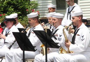 Members of the U.S. Fleet Forces Ceremonial Band from Norfolk, VA received a rousing ovation from the Pork Fest crowd as they performed two sets at the annual event. Staff Photo by Cal Bryant