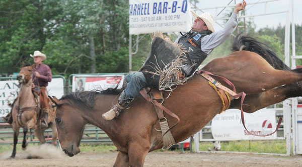A rider holds on tight as he attempts to remain on a bucking bronco at last year's Gates County Championship Rodeo. The 2015 event is set for next weekend – May 8-9 – at the Slo-Go Ranch on Paige Riddick Road. File Photo by Cal Bryant