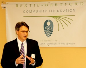 David Ryan, CFO of the North Carolina Community Foundation, praises the work of the Bertie Hertford Community Foundation and Bertie-Hertford Women's Fund at last week's grant reception ceremony. Staff Photo by Cal Bryant