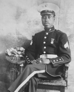James A. Felton, Sr., a Winton educator, minister, and civic leader, poses in his Marine Corps dress blue uniform in a photo from 1943.  Felton, who died in 1994, was one of the original Montford Point Marines, an all African-American unit who served in WW II. Felton will be honored Saturday in a program at the C.S. Brown Cultural Arts Center. Photo Courtesy / University of North Carolina
