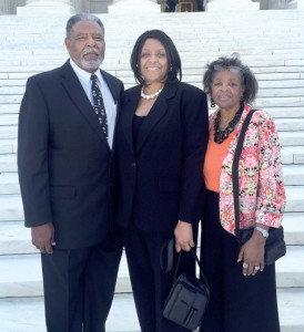 Tonja Monique Gaskins stands between her parents, Kirby and Maggie Gaskins of Merry Hill, on the steps of the United States Supreme Court in Washington, DC. She was recently approved as a practicing member of the Supreme Court Bar. Contributed Photo
