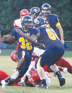 Hertford County is looking for another outstanding performance from running back Kyeem Perry (#32) on Friday when the Bears travel to Wilson to face J.B. Hunt in what will be a big football night with all six area teams in action.  Dynamic Photo / William Anthony