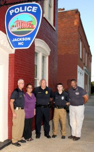 Members of the Jackson Police Department are, from left, Chief John Young, Chief Detective Brenda Burnette, Lt. Detective Greg Colson, Patrol Officer Austin Simmons, and Lt. Tony Burnette. Not shown is Sgt. Ricky Morris. Staff Photo by Cal Bryant