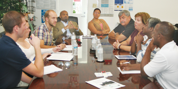 UNC Institute of Government students who will help oversee the re-development grant for the business incubator met last week with the Housing Authority, the Chamber of Commerce, and officials with the Town of Ahoskie. Staff Photo by Gene Motley
