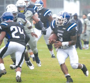 Chowan running back Tyree Lee (#5) set a new school single-game rushing record with 223 yards on the ground against St. Augustine's as the Hawks mauled the Falcons in the two teams' CIAA opener, 49-0. Next Level Photos / Charles Revelle