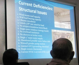 Tuesday's meeting included slide presentations over the current condition of Central Middle School.