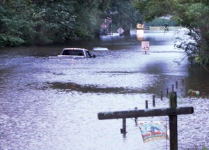 The last major flooding event in the Roanoke-Chowan area came on the heels of Hurricane Irene in August of 2011. One of the hardest hit areas was Windsor, as shown here on US 13 near Edgewood Baptist Church. File Photo