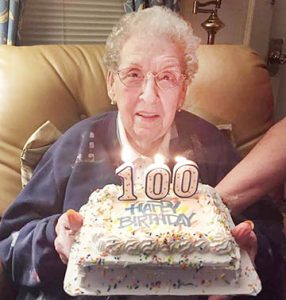 No birthday is complete with a cake, and Margaret Springfield of Ahoskie enjoyed this typical treat on the recent 100th anniversary of her birth. | Contributed Photo