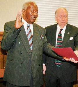 """Winfred Hardy Jr. (left) is shown here receiving the oath of office (along with now retired O.S. """"Buck"""" Suiter Jr.) in 2009 as a member of the Ahoskie Town Council. Hardy, who passed away on Monday, also served as Hertford County Sheriff. 