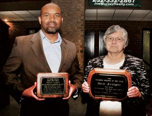Rosie Jernigan and Tyrone Lindsey were the respective recipients of the Ahoskie Chamber Member of the Year Award and the Roanoke-Chowan News-Herald's Front Page Award as presented at last week's annual banquet. Staff Photo by Cal Bryant