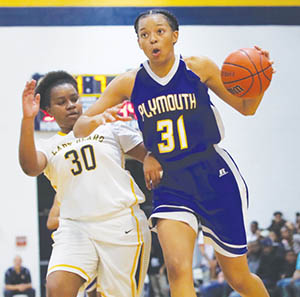 Plymouth's Brittany Franklin (#31) blows by Hertford County defender Ty'Trice Perry in Tuesday night's girl's semi-final of the Roanoke-Chowan News-Herald Holiday Classic.   Franklin had a game-high 31 points in a 69-57 Plymouth win that moved the Lady Vikings to the championship tonight (Thur.) against Bertie. | Dynamic Photo / William Anthony