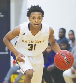 Hertford County's Zion Riddick was one of nine Bears players who scored Thursday night as HCHS routed Pasquotank County in Elizabeth City, 83-48. | Dynamic Photo / William Anthony