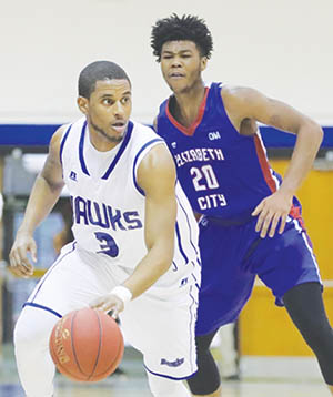 Chowan's Marco Haskins (#3) is guarded by Elizabeth City State's John Maynor in Saturday's CIAA game in Murfreesboro.  Haskins erupted for 21 points in the 79-77 Chowan win. | Dynamic Photo / William Anthony
