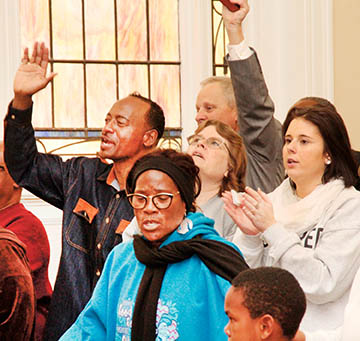 An overflow crowd inside Ahoskie United Methodist Church stood and gave praise on Monday where all races gathered to remember the life and legacy of the late Dr. King. Music was provided by the Higher Ground Praise Ministry.