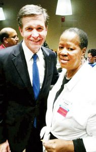 Northampton County Commissioner Fannie Greene is shown here with Gov. Roy Cooper at the 2017 Legislative Goals Conference. | Photo courtesy Chris Baucom/NCACC