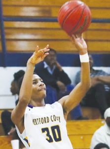 Hertford County's Talik Totten shoots in a recent game. Totten scored 13 points Tuesday night in a 65-46 win over Edenton J.A. Holmes as the Bears won their 10th Northeastern Coastal Conference game to remain in first place in the standings. | Dynamic Photo / William Anthony